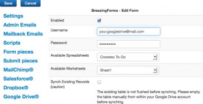 Google Drive® Spreadsheets With Joomla!® And BreezingForms - Crosstec
