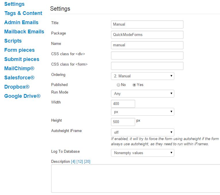 Advanced Form Options - Crosstec