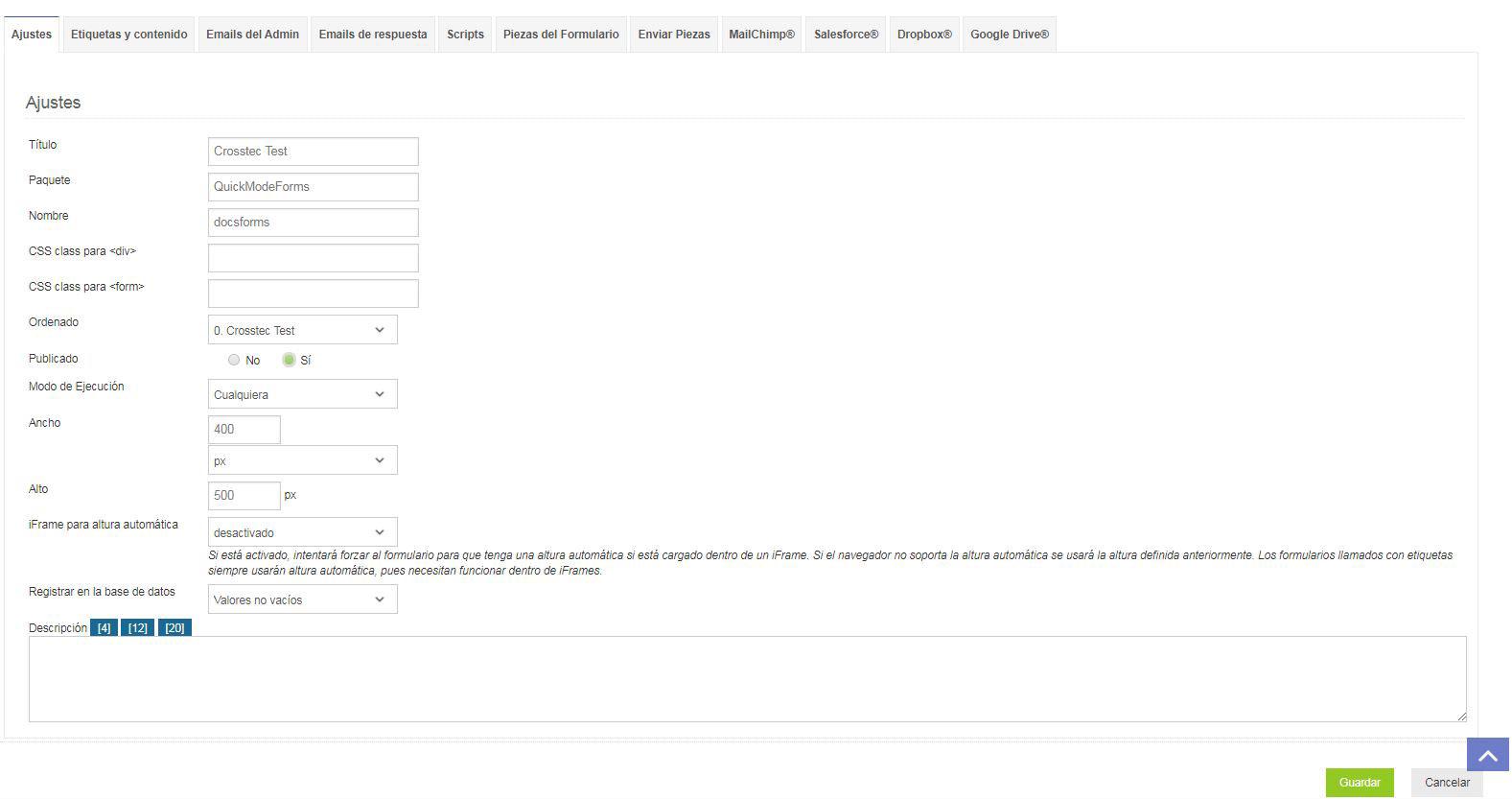 Ajustes del formulario - Crosstec