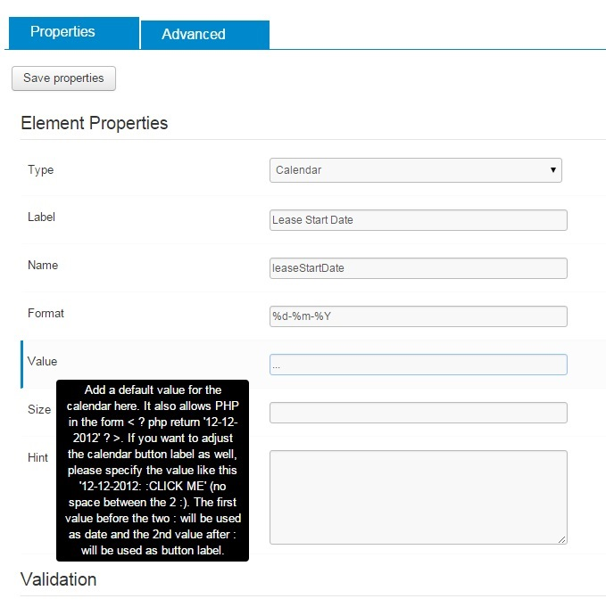 Display a default date in a calendar field - Forums - Crosstec