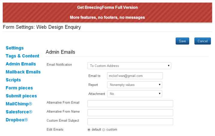 how to send an email froma form html